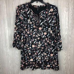 Style & Co Boho Tunic Black Pink Blue Floral Large